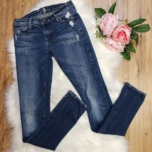 7 For All Mankind Roxanne Skinny Jeans Destroyed